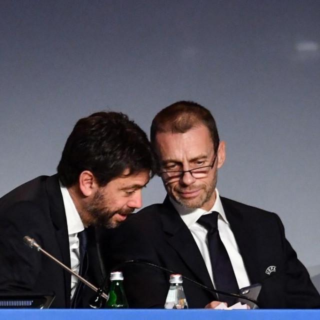 Predsjednik Juventusa Andrea Agnelli i predsjednik UEFA-e Aleksandar Čeferin