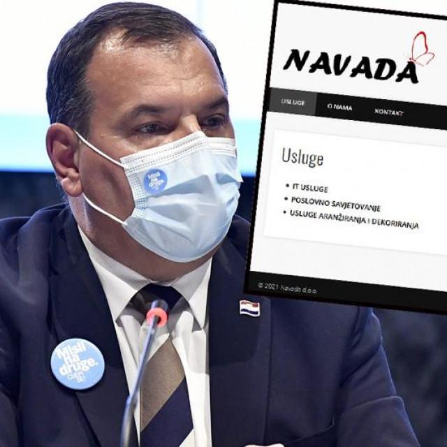 Vili Beroš i screenshot web stranice tvrtke Navada d.o.o.