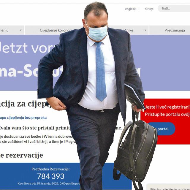Vili Beroš i naslovne stranice hrvatske i austrijske platforme za cijepljenje