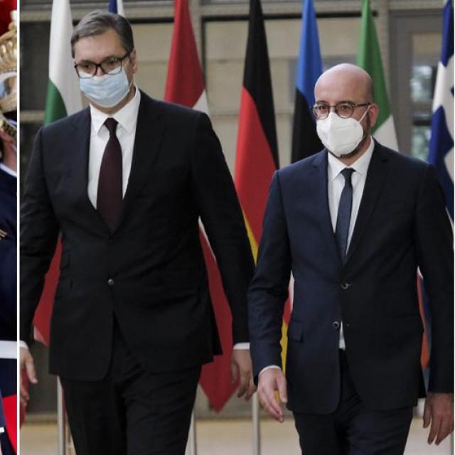 Emmanuel Macron, Aleksandar Vučić, Charles Michel, Angela Merkel