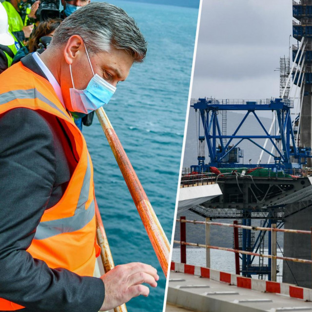 Premijer Plenković obišao je gradilište Pelješkog mosta