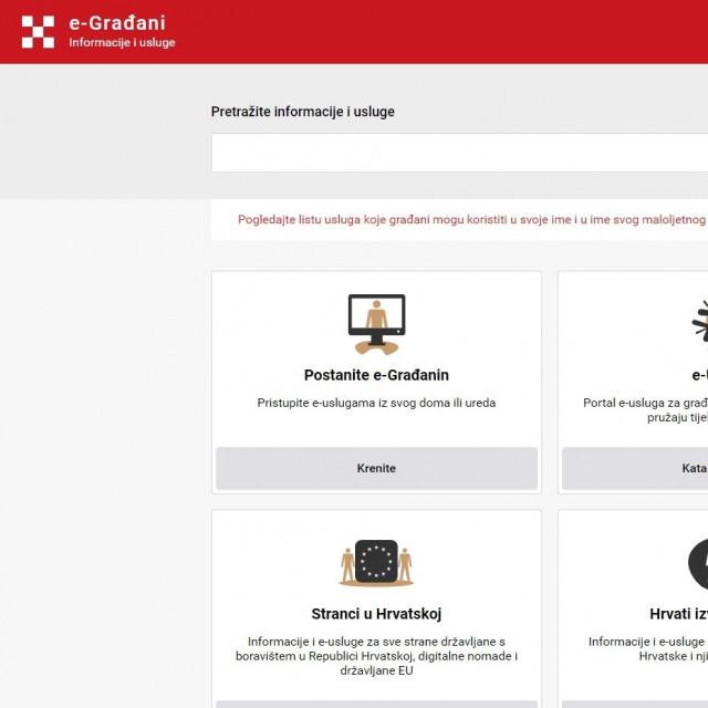 Naslovna stranica novog portala e-Građani