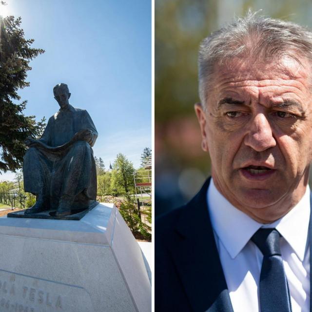 Župan Ličko-Senjske županije Darko Milinović, Teslin kip i ministrica Nina Obuljen Koržinek