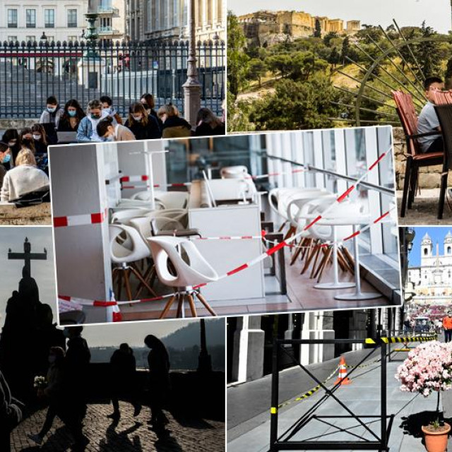 Prizori iz Pariza, Atene, Praga, Rima i Hamburga (u sredini)