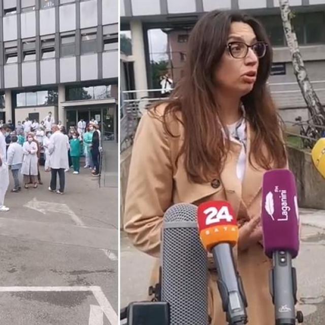 Dijana Zadravec (lijevo); prosvjed ispred KBC-a Sestara milosrdnica (sredina); dr. Karolina Bolanča Čulo