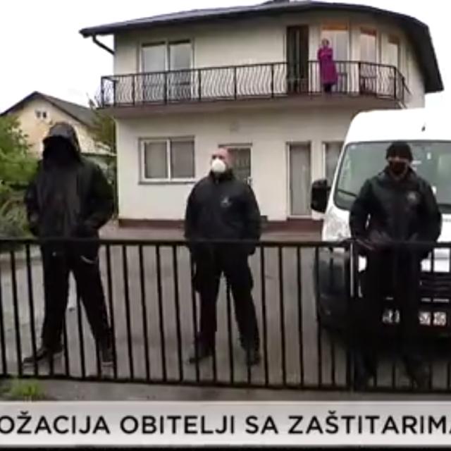 Zaštitari pred kućom obitelji Strjački u Zaprešiću