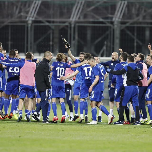 Slavlje Dinama nakon sto su pobijedili Rijeku rezultatom 5:1