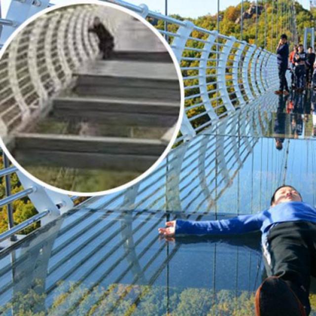Stakleni most u Kini i zarobljeni turist (u krugu)