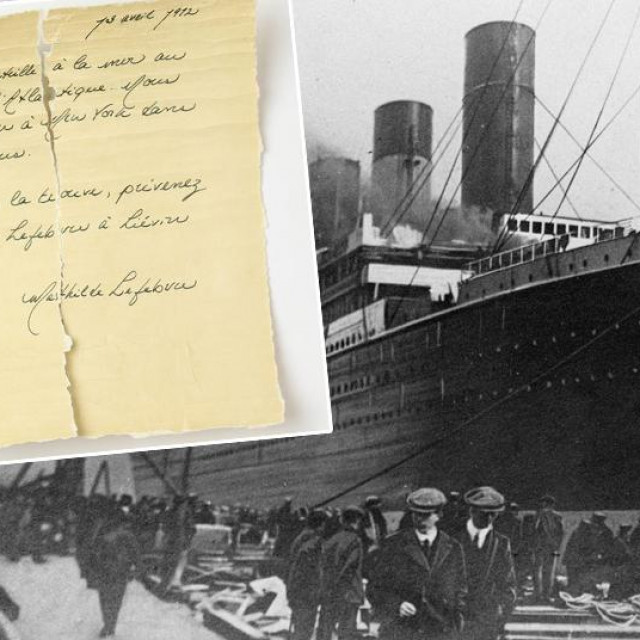 Titanik; u pravokutniku: pismo Mathilde Lefebvre
