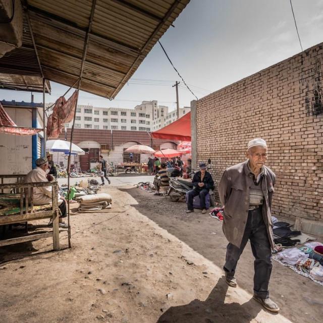 Ilustracija, prizor iza Kashgara u Xinjangu