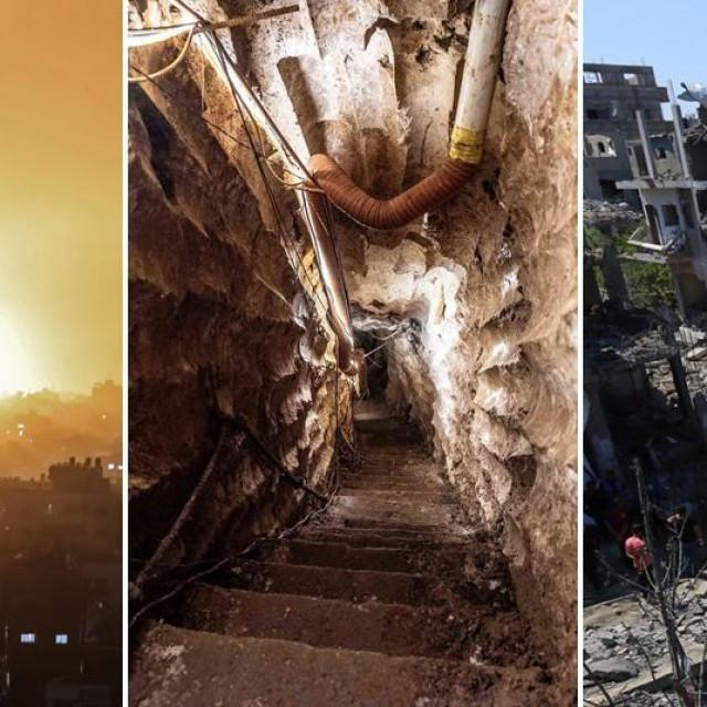 Napad na Gazu, ilustracija tunela i uništene zgrade u Pojasu Gaze