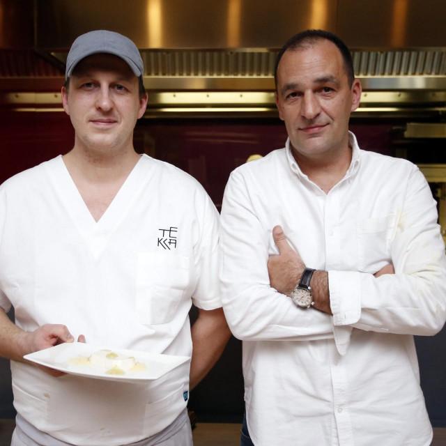 Mario Minder i Tomislav Pirs fotografirani u restoranu Tekka 2016. godine<br />