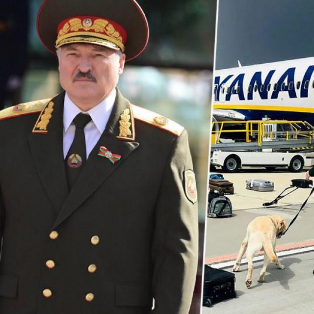 Aleksandar Lukašenko i avion Ryanaira koji je prislino spušten u Minsk