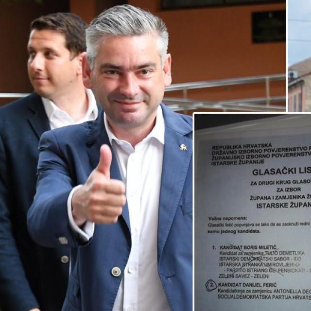 Boris Miletić i Danijel Ferić te primjer glasačkog listića koji, prema tvrdnji SDP-a, nije uvažen kao valjan, a trebao je biti