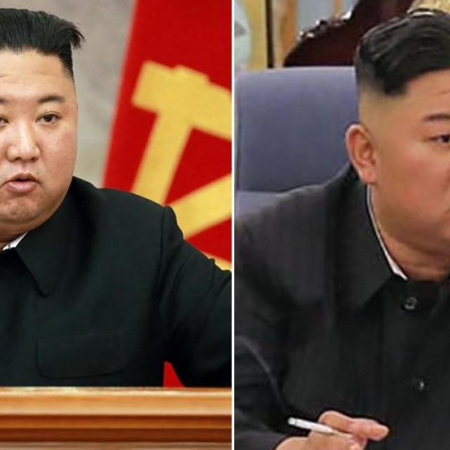 Kim Jong-un u studenom 2020. (lijevo) i lipnju 2021. (desno)