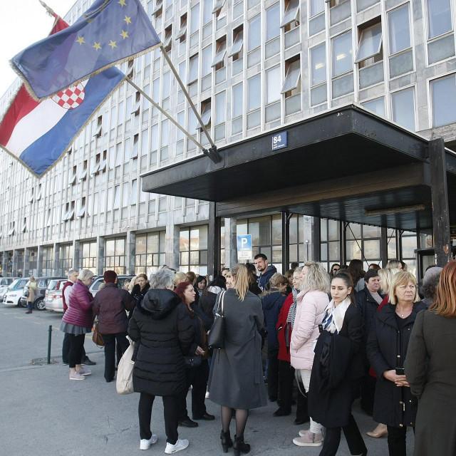Zagreb, 280219.<br /> Zgrada suda, Vukovarska ulica.<br /> Prosvjed sudskih sluzbenika u Palaci pravde od 13 do 14.<br />