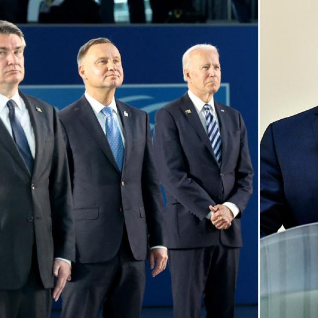Premijer Belgije Alexander De Croo, predsjednik RH Zoran Milanović, predsjednik Poljske Andrzej Duda i predsjednik SAD-a Joe Biden; Gordan Grlić Radman