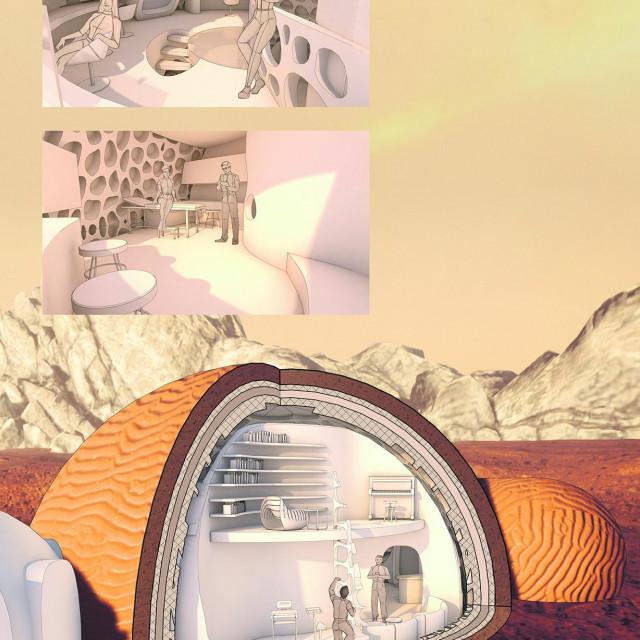 Iznad mini dnevne sobe i fitnessa (odvojeni su ljestvama) smještena je galerija koja služi kao soba za yogu, čitanje i glazbu.<br /> Dvije manje fotografije (gore) pokazuju sobu za komunikacije sa Zemljom i medicinski i znanstveni laboratorij te članove posade kako ih koriste<br /> <br /> <br />