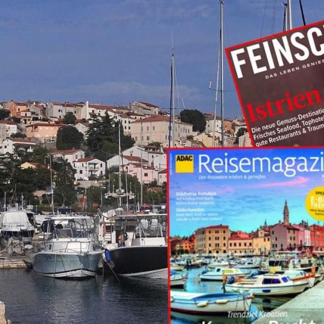 Naslovnice austrijskih časopisa; Vrsar u pozadini