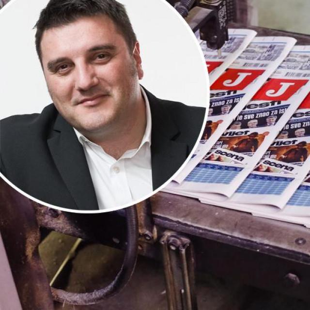 Glavni urednik Jutarnjeg lista Goran Ogurlić (gore lijevo), prizor iz Tiskare Vjesnik (glavna fotografija)