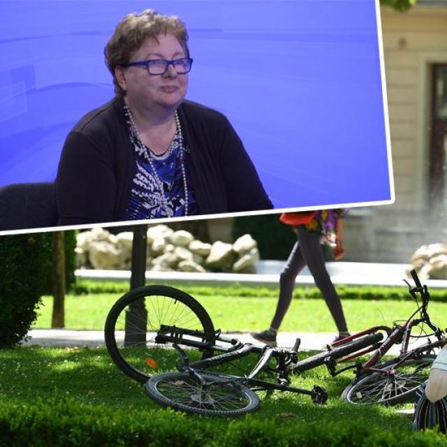 Vlasta Tutiš u emisiji 'Briefing' (gore lijevo), prizor iz užarenog Zagreba (glavna fotografija)