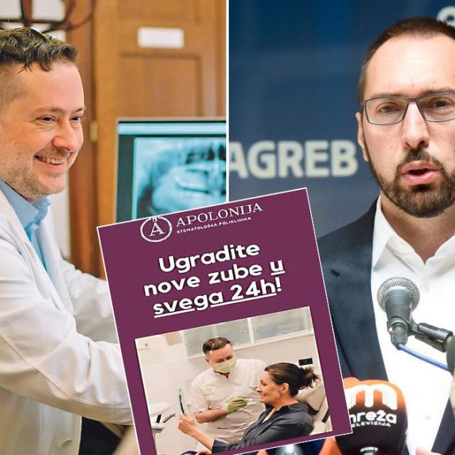 Tomislav Lauc i Tomislav Tomašević; Uša Raukar (u sredini) reklamirala je polikliniku Apolonija