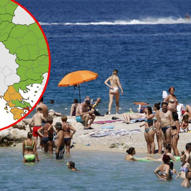 Karta ECDC-a i plaža u Hrvatskoj