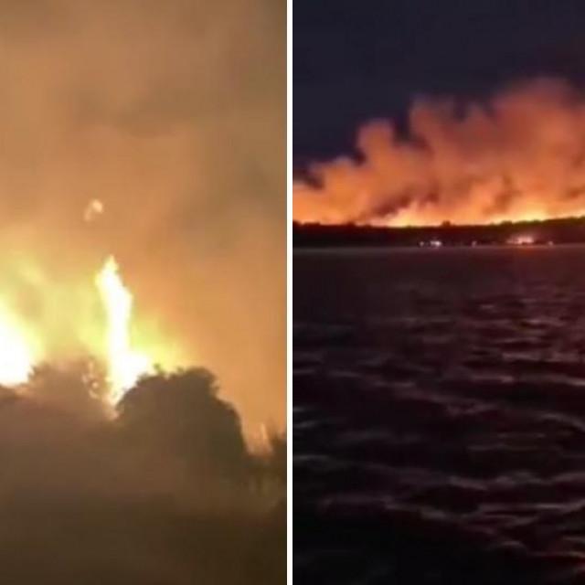 Požar na Braču (lijevo), požar na otoku Lavdara (desno)