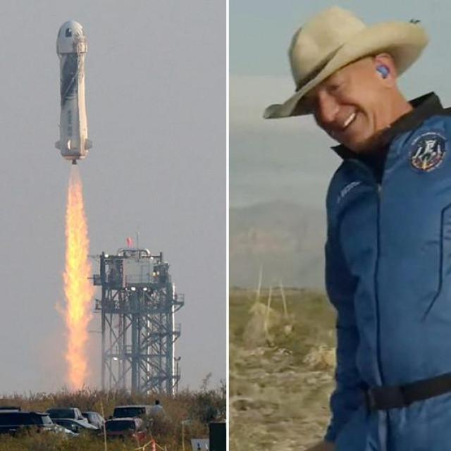 Jeff Bezos nakon povratka na Zemlju (sredina)