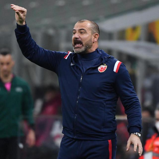 Crvena Zvezda Beograd's Serbia's coach Dejan Stankovic reacts during the UEFA Europa League round of 32, 2nd leg football match AC Milan vs Crvena Zvezda on February 25, 2021 at the San Siro stadium in Milan. (Photo by Tiziana FABI/AFP)