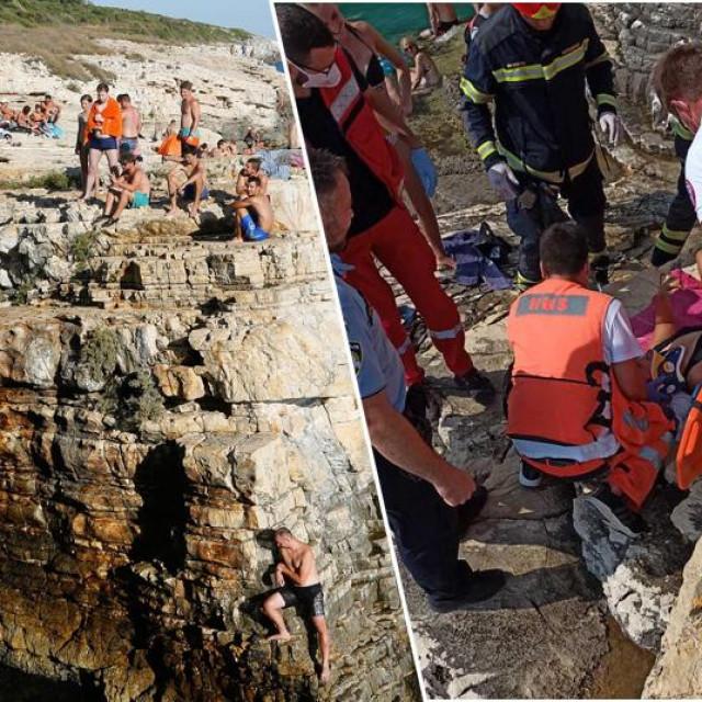 Ilustracija skakanja sa stijene na rtu Kamenjak i pružanje pomoći ozlijeđenoj Francuskinji