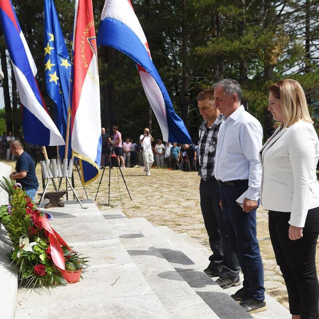 Milorad Pupovac stavlja vijenac na spomenik