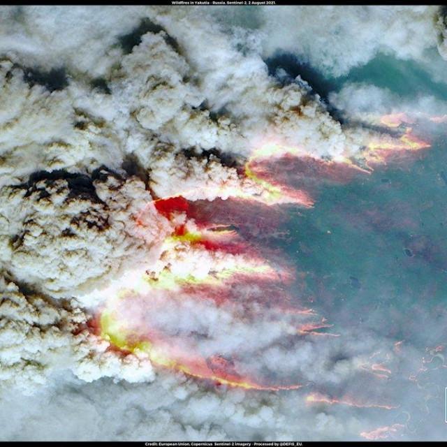 Satelitska snimka požara, nastala 2. kolovoza