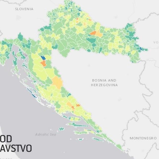 Karta procijepljenosti Hrvatske