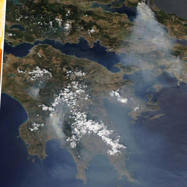 Prizor požara u Grčkoj i satelitska snimka koja pokazuje dim nad većim dijelom zemlje