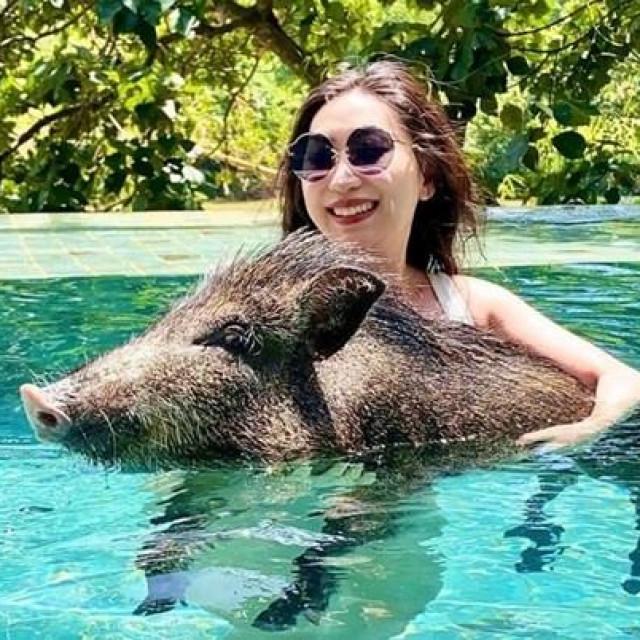 Dora i vepar u bazenu