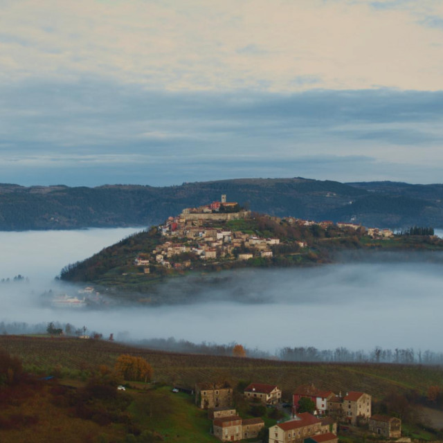 Town of Motovun rising above the morning fog. (National Geographic)