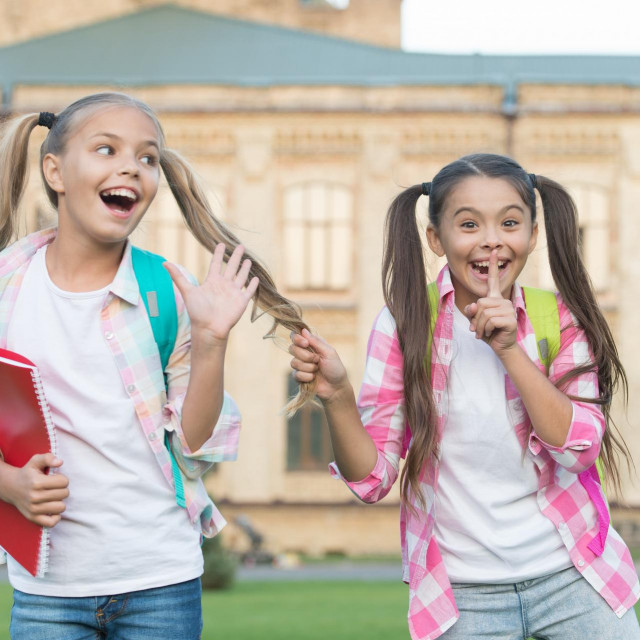 Happiness and joy. Smiling friends having fun at school yard. Happy schoolmates. School camp. Modern education. Teens with backpacks. Girls school background. STEM summer camps and courses for kids.
