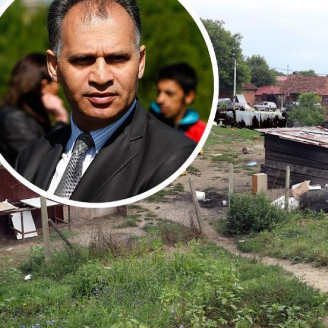 Veljko Kajtazi (u krugu) i specijalna policija u naselju Parag