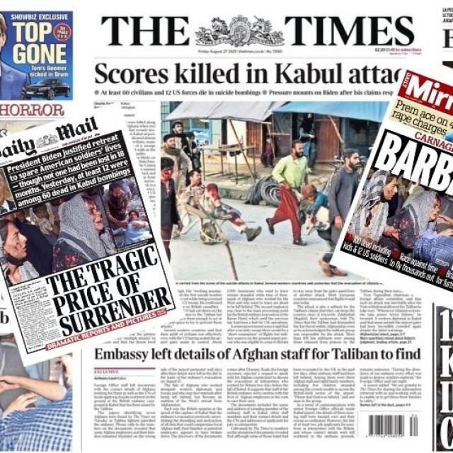 Naslovnice novina nakon napada u Kabulu