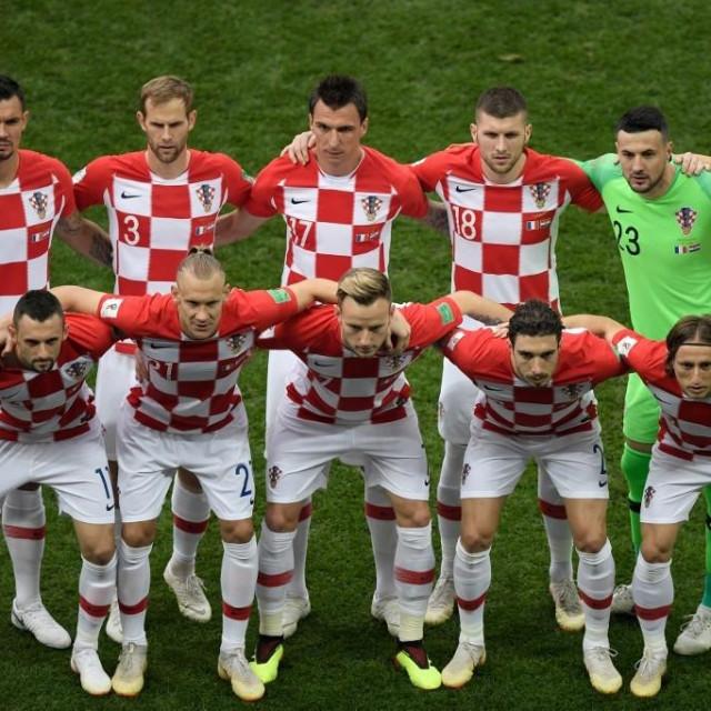 Hrvatska nogometna reprezentacija prije utakmice finala SP-a u Rusiji 2018.