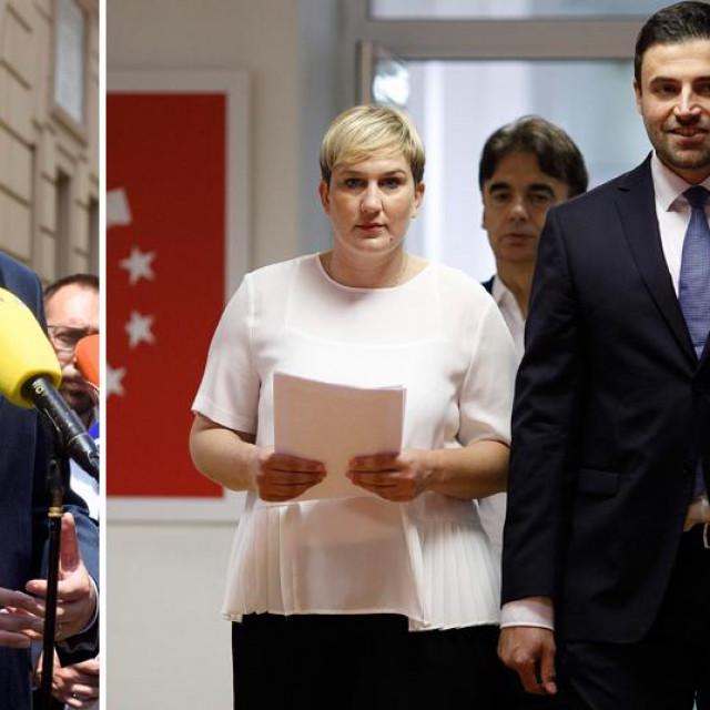 Peđa Grbin (lijevo), Ivana Marković i Davor Bernardić (desno), arhivska fotografija