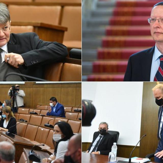 Radovan Dobronić (gore lijevo), Marin Mrčela (gore desno); članovi Odbora za pravosuđe Hrvatskog sabora (dolje lijevo); Mišel Jakšić (dolje desno)