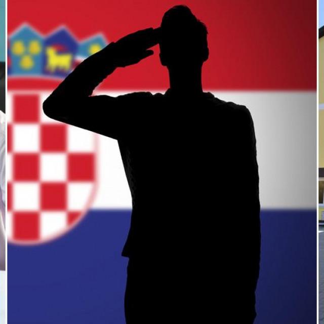 Anto Vukoje, silueta vojnika s hrvatskom zastavom i OŠ Darda