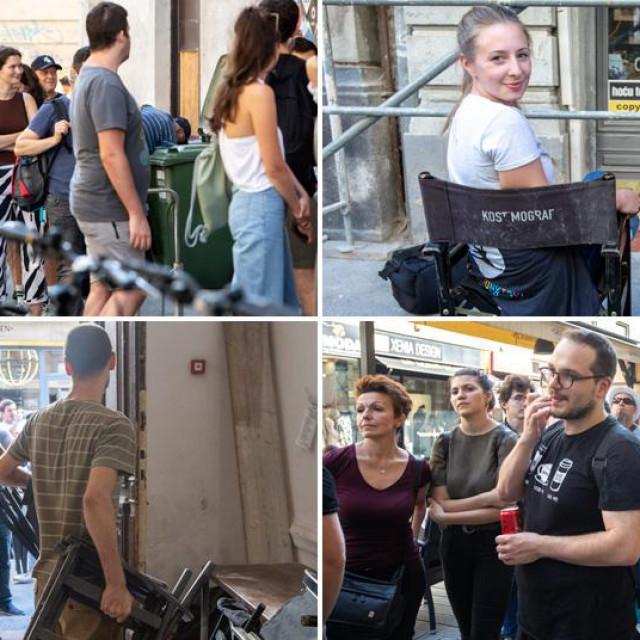 Prizori čekanja u redu za stolice iza kafića Kina Europa
