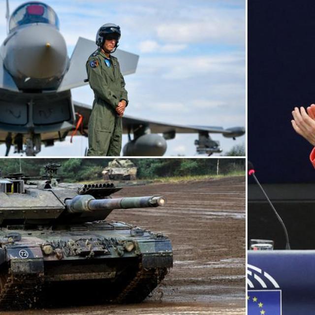 Njemački borbeni avion Eurofighter, njemački tenk Leopard 7A i šefica EK Ursula von der Leyen