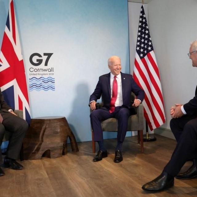Boris Johnson, Joe Biden i Scott Morrison na G7 sumitu u Cornwallu