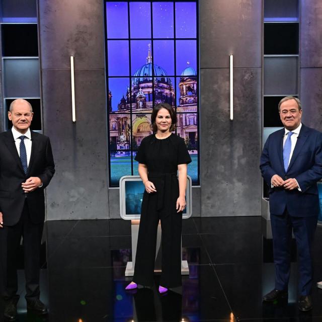 Olaf Scholz , Annalena Baerbock i Armin Laschet