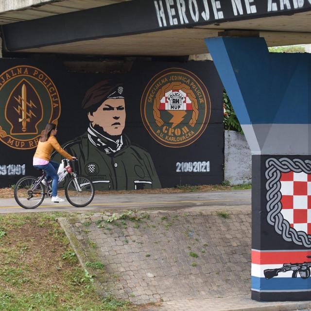 Mural s likom Mihajla Hrastova