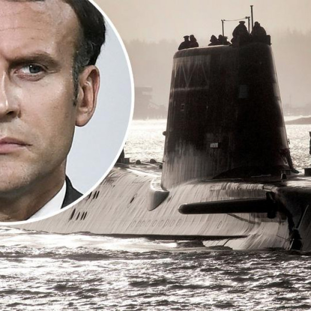 Emmanuel Macron (u krugu); britanska nuklearna podmornica